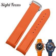 ซิลิโคนยางซิลิโคนสำหรับOmega Speedmaster Seamaster Aqua Terraนาฬิกา 20 มม.22 มม.นาฬิกาสายคล้องคอสีส้มนาฬิกาสร้อยข้อมือ