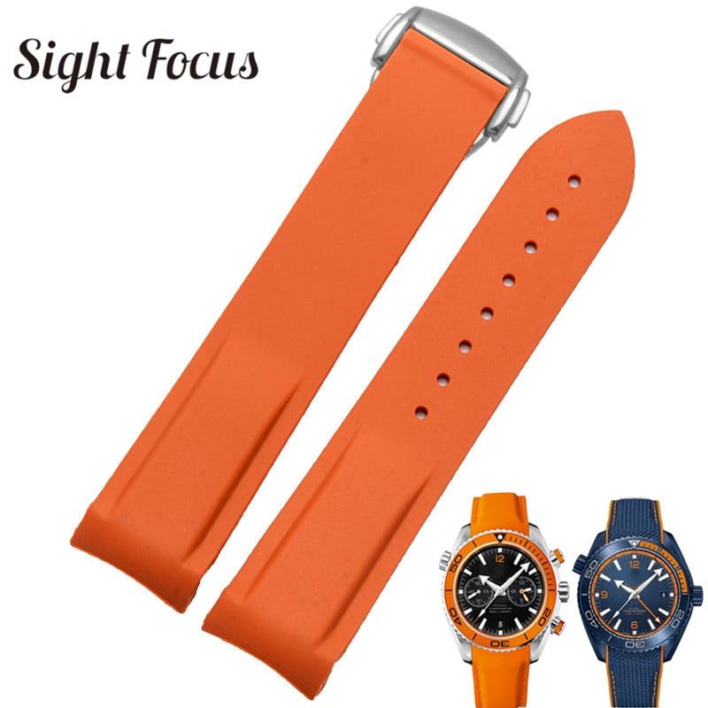 Pulseira de relógio de silicone de borracha para omega  speedmaster seamaster aqua terra correia de relógio 20mm 22mm masculino  pulseira de relógio laranjaPulseira do relógio