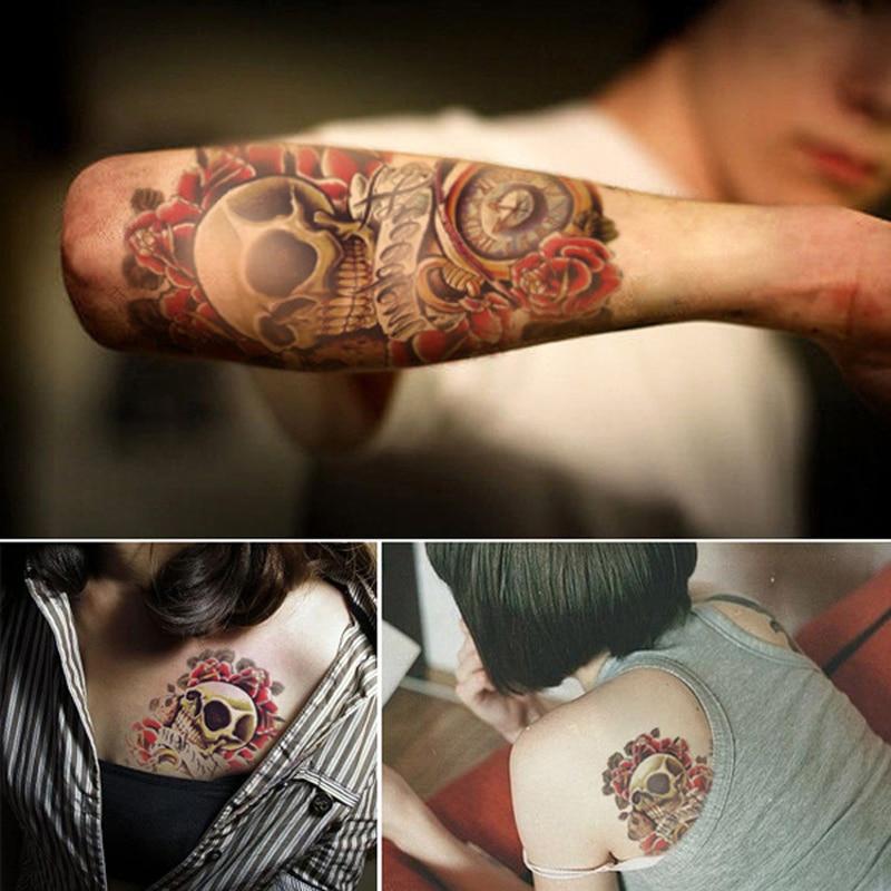 2PCS Waterproof Temporary Tattoos for Men Arm 3D Tattoo Sticker for Body Art Punk Skull Pattern Transferable Tattoo Sleeve
