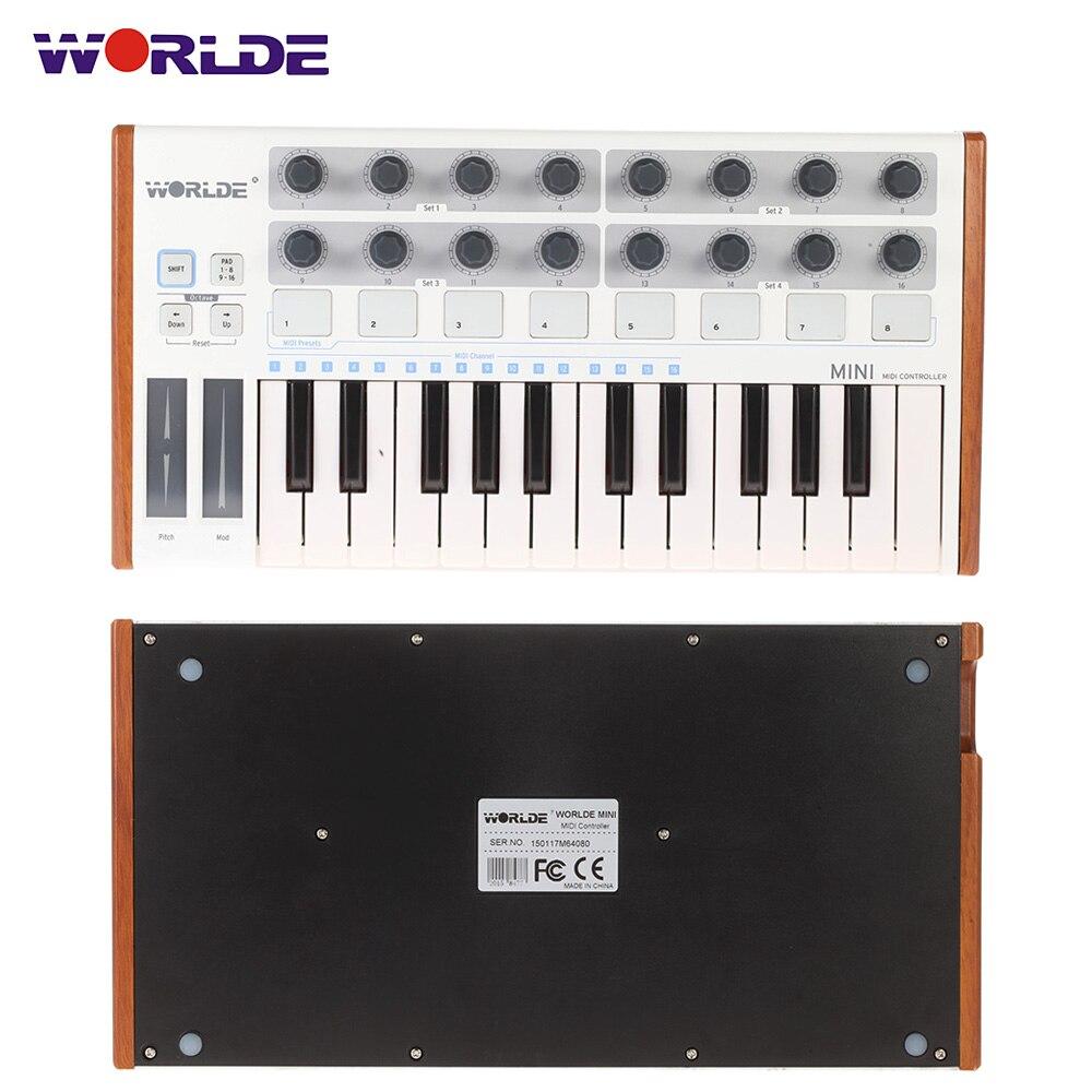 New arrival Worlde Ultra Portable Mini Professional 25 Key USB MIDI Drum Pad and Keyboard Controller