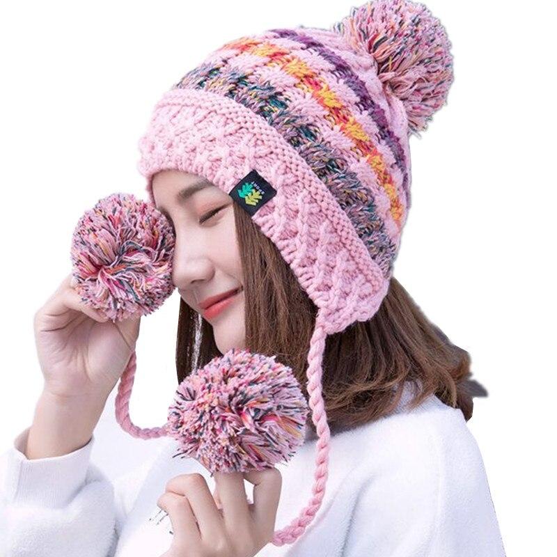 Beanie Hat Woolen Caps For Women Earflap Warm Hats Pom Pom Winter