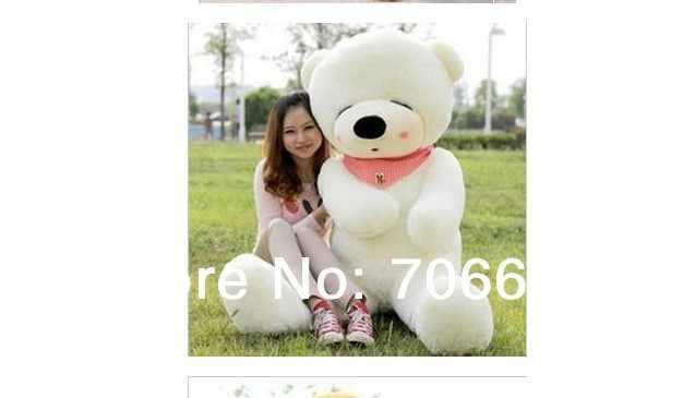 Novo recheado estrabismo branco-olhos de urso de pelúcia presente Brinquedo De Pelúcia 160 cm Boneca 63 polegada wb8304