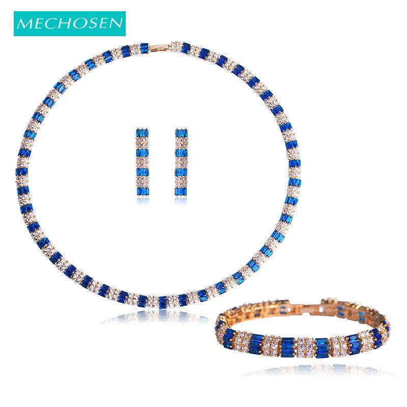 Mechoice ensembles de bijoux de mariée Collier boucles d'oreilles bracelets pour femme décoration de mariage cubique zircone Collier bijoux en cuivre