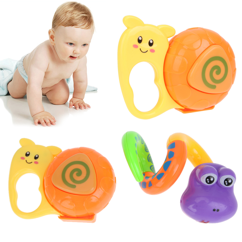 2Pcs Cute Snake Snail Baby Rattles Toy Cartoon Animal Infant Handbells Grasp Bell Toy Educational Baby Teething Rattle Toys
