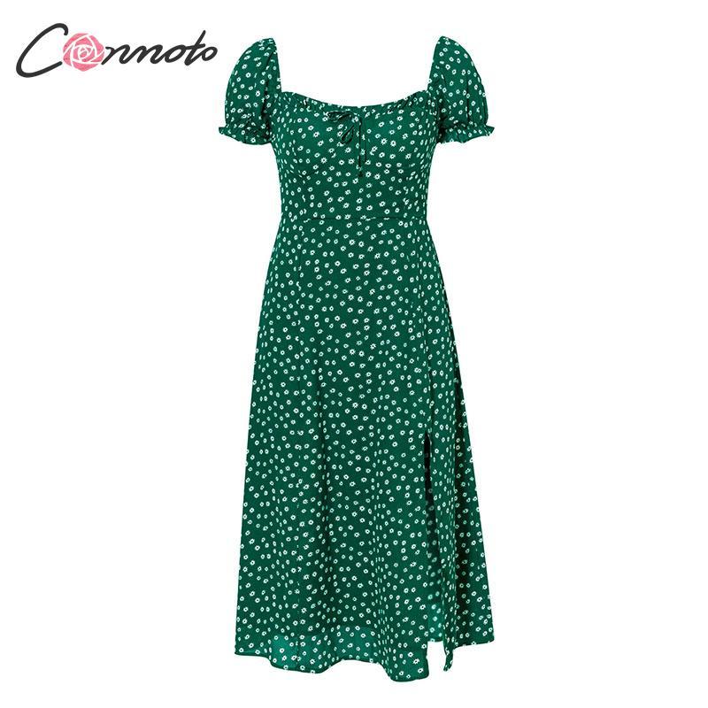 Conmoto Summer Vintage Party Dress Square Collar Ruffle Elegant Sexy Dress Beach Female Green Floral Print Mid Dresses Vestidos 5