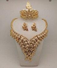 2016 regalo nupcial boda nigeriano Beads africanos joyería conjunto moda Dubai 14 K oro plateó la joyería de traje collar grande del diseño
