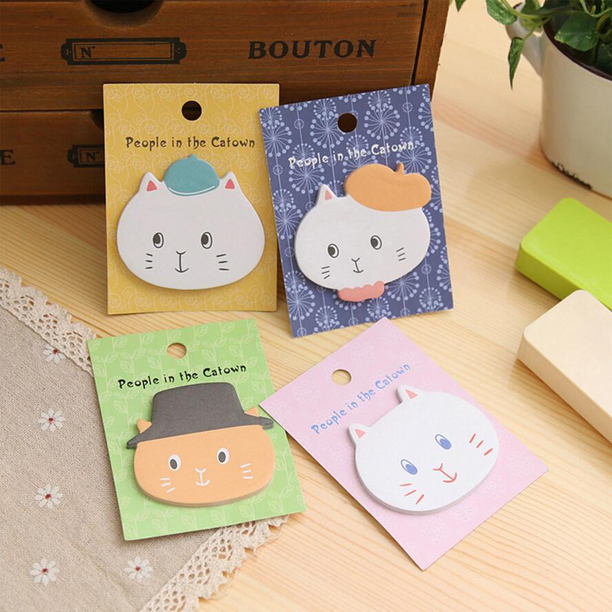 4 pcs/Lot Kawaii Cat memo Cute Cartoon Self-Adhesive Memo Pad Sticky Notes Post It Bookmark Office School supplies 6119