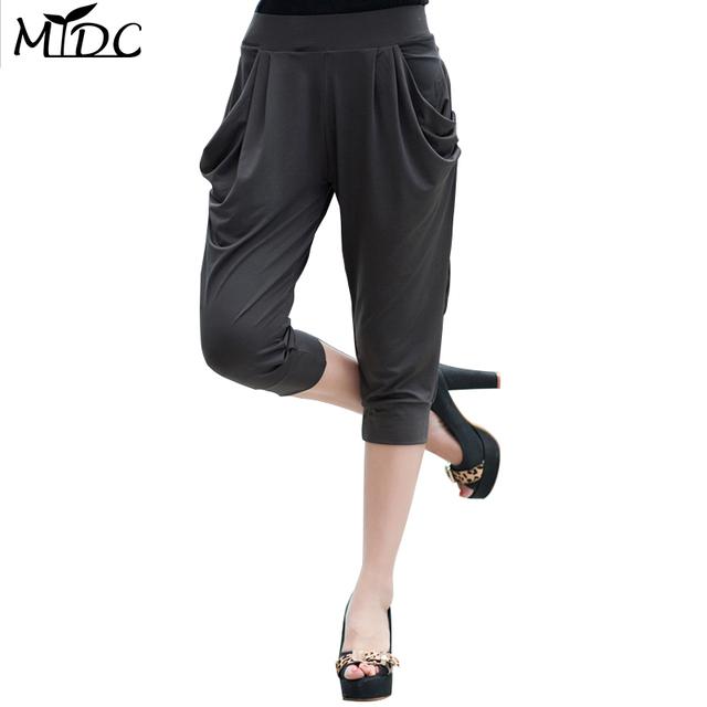 2017 novas mulheres da moda plus size meados bezerro de cintura-comprimento calças plissadas sólidos dois bolsos calças 6xl 5xl