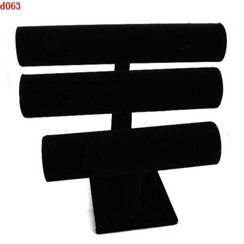 Haute Qualité Velours Noir 3-Tier titulaire pour Montre Bracelet Bracelet Support à Bijoux Présentoir Rack Vitrine D'affichage
