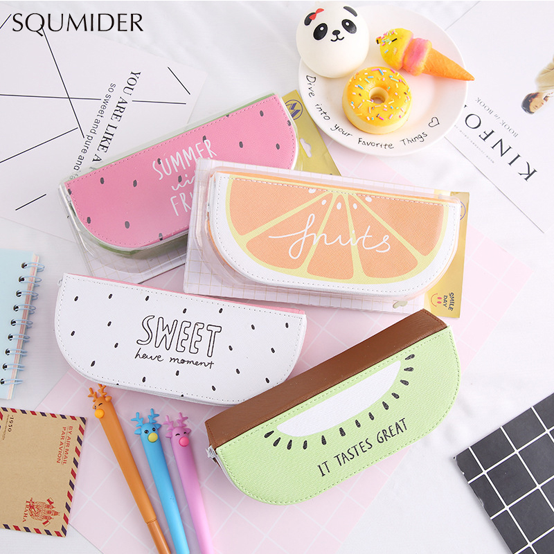 Fruit Style Cute School Pencil Case For Girls PU Leather Kiwi Pencil Bag Fruit Stationery Pouch Office School Supplies
