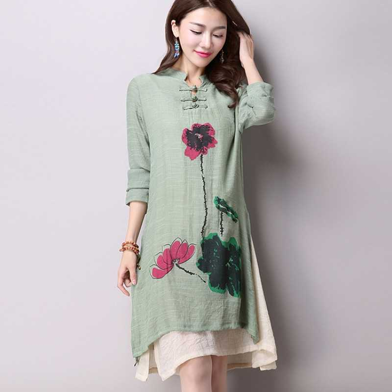 7d593f2c38 2018 Spring New Women's National Wind Casual Long-Sleeved Cotton Linen  Dress Plus Size Long Linen Dresses Simple Printing CX002
