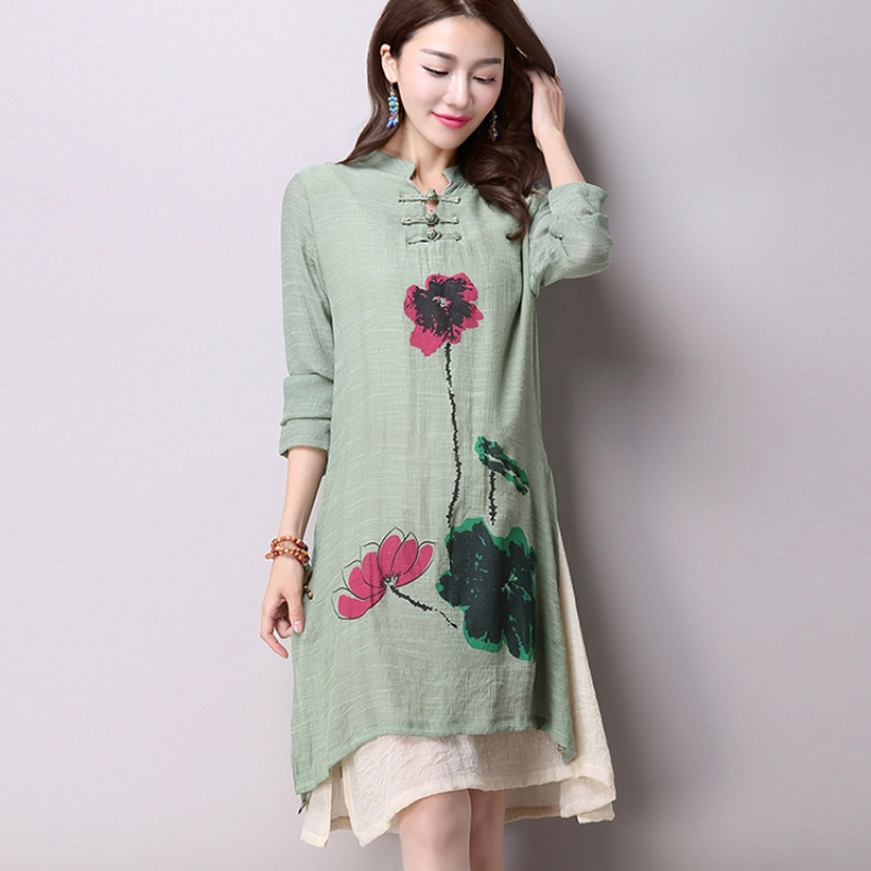 US $11.4 42% OFF|2018 Spring New Women\'s National Wind Casual Long Sleeved  Cotton Linen Dress Plus Size Long Linen Dresses Simple Printing CX002-in ...