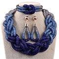 текущая продажа со скидкой 2015 российские свадебные натуральные бижутерия, синие кристалл смола, ожерелья кулон серьги