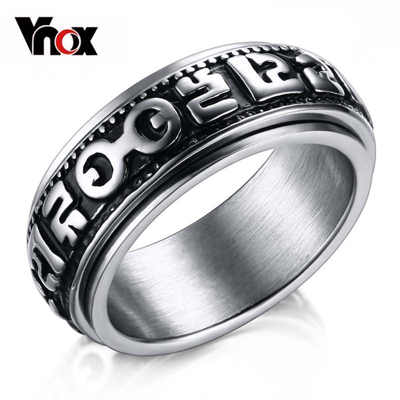 Vnox Spinner Rings for Men Stainless Steel Mantra Words Ring Chinese Style Buddhism Pray Jewelry