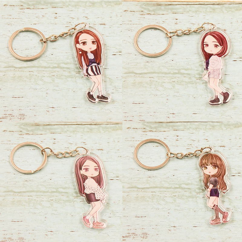 2018 New Design Kpop Blackpink Muticolor Transparent Keychain ROSE JENNIE JISOO Fashion Keychain Gifts for Fans Рыбная ловля