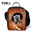 FORUDESIGNS Trendy Cute Pet Dog Cat Kids Lunch Bag Thermal Bag 3D Animal Printing Women's Travel Picnic Bag Lancheira Termica