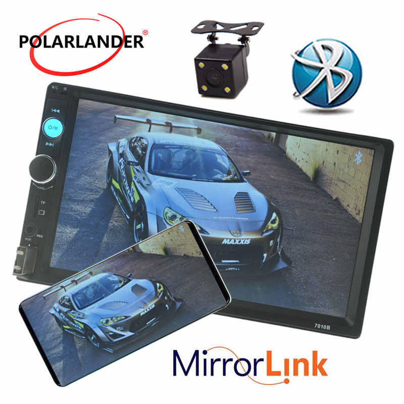 مشغل راديو كاسيت MP5 للسيارة مزود بشاشة 7 بوصات وبلوتوث وشاشة لمس عالية الوضوح راديو سيارة TFT راديو FM وusb TF وaux بوصلة بمرآة 2 DIN