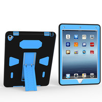for ipad Air2/6 3 in 1 case cover PC+SILICON Shockproof Drop resistance with bracket 12 colors for ipad Air2/6