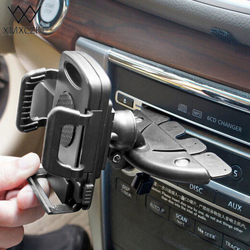 XMXCZKJ Car Phone Holder Universal 360 Degree Rotation Car CD Slot Mount Stand Mobile Phone Holder For Smartphone GPS For 3Style ...