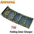 Frete grátis à prova d' água 5.5 v 7 w portable folding dobrável carregador de painel solar da bateria, Solar Carregador Do Telefone Móvel Celular