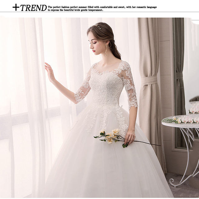 Do Dower O Neck Half Sleeve Wedding Dress Fashion Slim Lace Embroidery Lace Up Plus Size Custom Made Wedding Gown Robe De Mariee 6