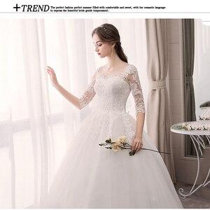 Image 5 - EZKUNTZA O Neck Half Sleeve Wedding Dress Fashion Slim Lace Embroidery Lace Up Plus Size Custom Made Wedding Gown Robe De Mariee