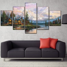 Lakeside cottage Landscape HD Print Wall Art Canvas Painting Modern Home For Living Room Decor