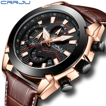 Mens Watches Big Dial Quartz Sport Watch Top Brand CRRJU Fashion Chronograph Men s Wristwatch Leather