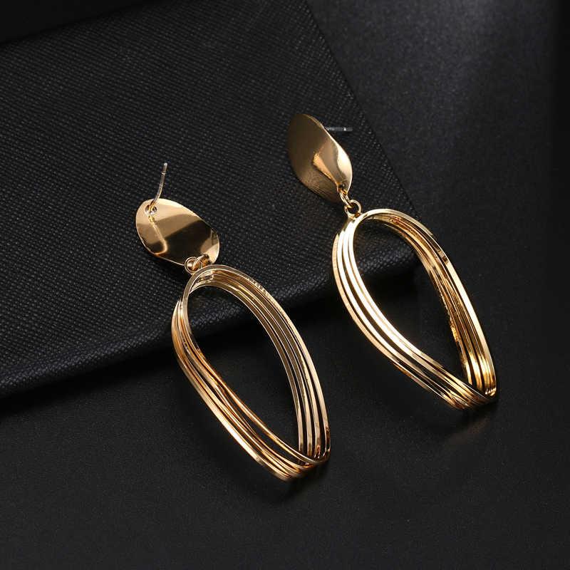 Korea Wanita Fashion Anting-Anting Warna Emas Berlian Imitasi Perhiasan Wanita Bulat Anting-Anting BoHo Anting-Anting Panjang Telinga Perhiasan Hadiah Emas