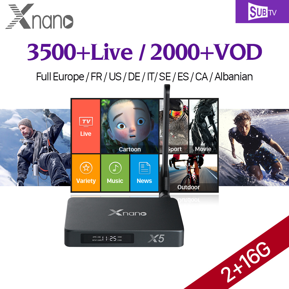Xnano X5 Full HD Französisch IPTV Box Android 6.0 2G/16G WiFi Media...