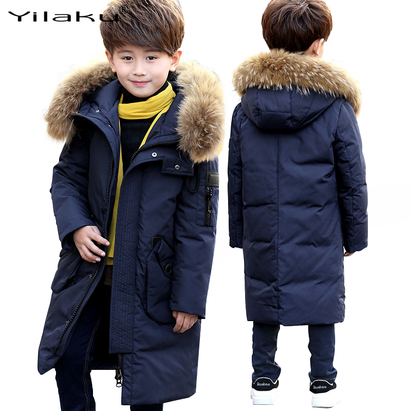 Yilaku boys coat winter jackets Thick long snowsuit boys clothing down Coats Fur Hooded duck down jacket kids Solid navy CG394 buenos ninos thick winter children jackets girls boys coats hooded raccoon fur collar kids outerwear duck down padded snowsuit