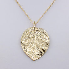 Leaf Necklace Women Long Chain Big Statement Pendant Choker Leaves Charm Female Jewelry Accessory(China)
