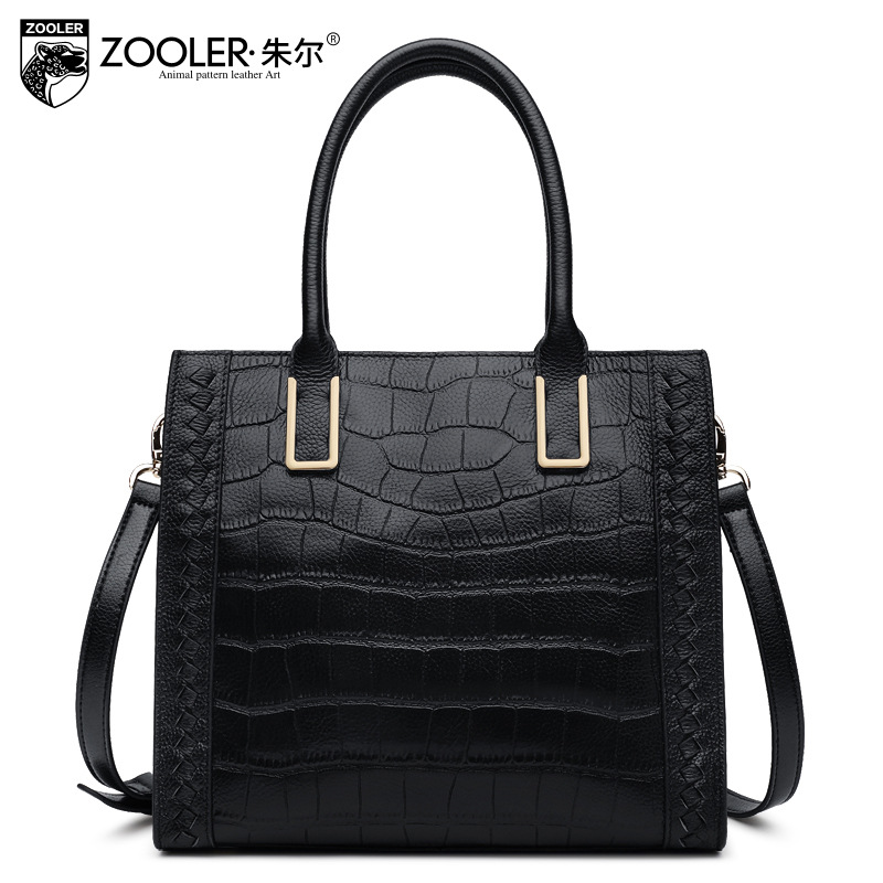 ZOOLER Women Real Genuine Leather Bag Fashion Black Cowhide Tote Bag Ladies Street Business Handbag 2017 New Simple Leisure Bags zooler black genuine leather top handle handbag leisure simple large capacity tote bag ladies fashion sac a main femme de marque