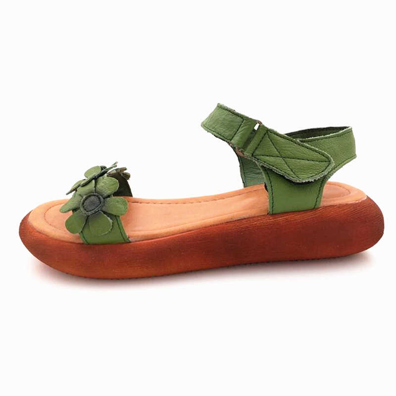 YAERNI Kadın sandalet açık toe Hakiki deri el yapımı yaz ayakkabı sandalet ulusal tarzı retro sandalet