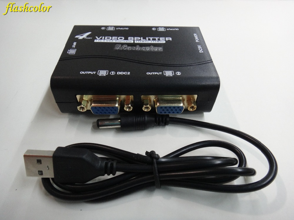 Flashcolor VGA Splitter 4 Ports VGA Video Splitter 250MHZ 1 Input 4 Output Support USB Power Adaptor