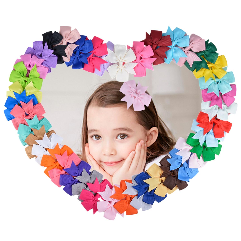 40 pcs Cute Bowknot Ribbon Bow Hair Clip Hairpin Girls Kids Teens Handmade Rainbow Dance Party Kids Boutique Hair Grips for Teen