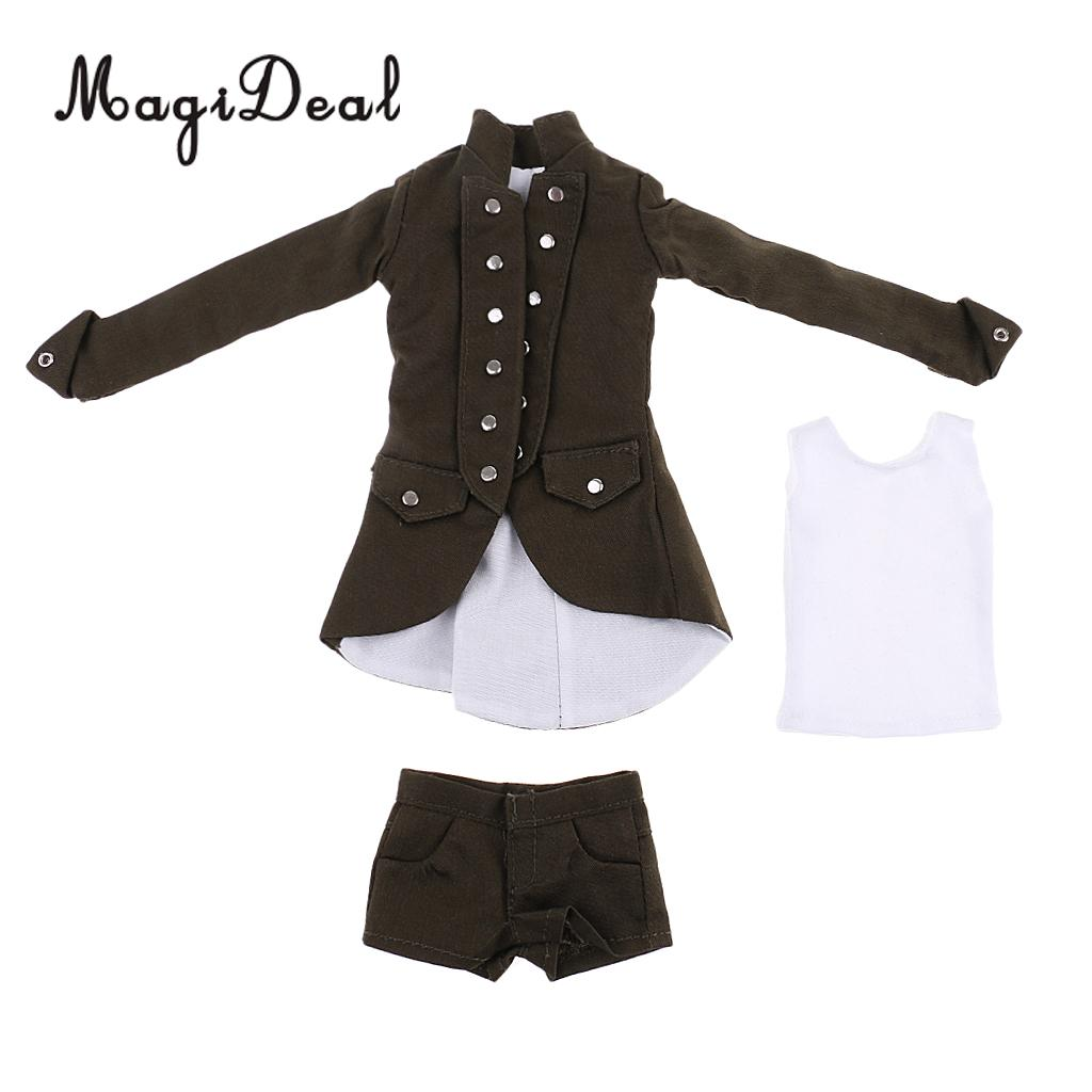 MagiDeal 1/6 Scale Cloth Gothic Clothes Coat/Shorts/Vest Set for 12 Inch Woman Action Figures Body Student Uniform Dress Acce