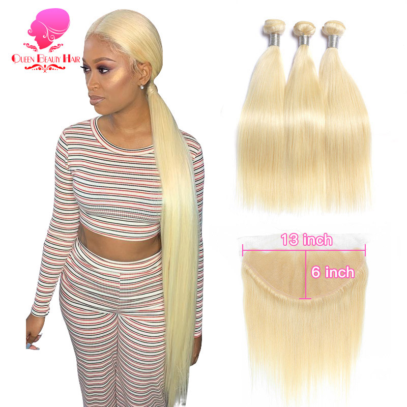 QUEEN BEAUTY 613 Blonde Weave Remy Brazilian Straight Human Hair 2/3/4 Bundles With 13x6 Free/Middle Lace Frontal Closure Pieces
