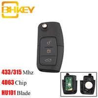 BHKEY 433Mhz 3 Tasten Folding Remote-Car key Für Ford 4D60 4D63 Chip Für Ford Focus 2 3 mondeo fiesta key Fob HU101 Klinge