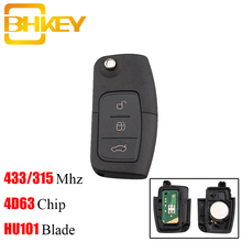 Bhkey 433mhz 3 botões dobrável chave do carro remoto para ford 4d60 4d63 chip para ford focus 2 3 mondeo fiesta chave fob hu101 lâmina