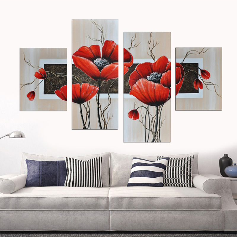 Hand Painted Oil Paintings Red Beautiful Flower On Canvas Unframed Modern Abstract Picture 4 Panel Wall