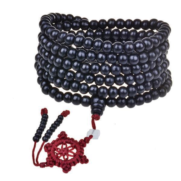 Red Wood Beads Bracelet Men/Women 5mm/6mm Buddhism 216Pcs Wooden Rosary Bodhi Sandalwood Prayer Beads Tibetan Mala Bead Bracelet 4