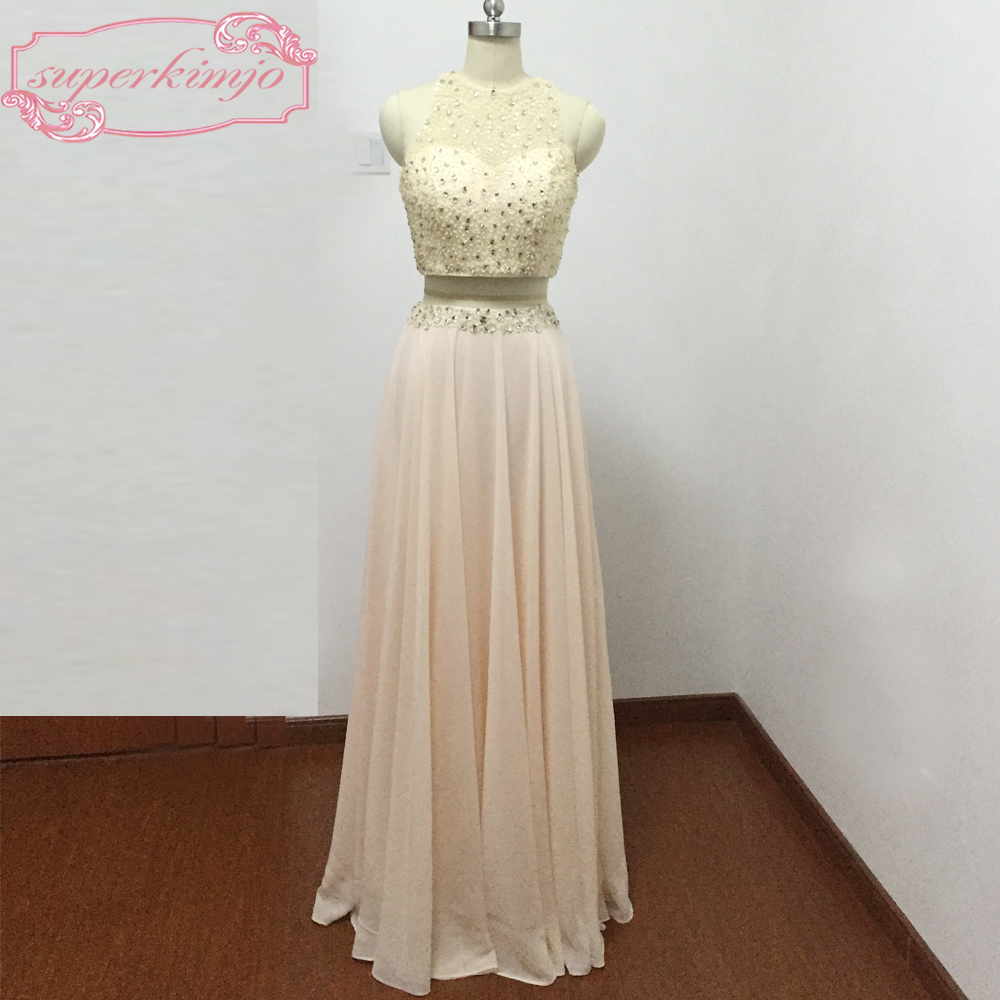 Actual Image Evening   Dresses   Sheer Crew Neckline Beading Sequins Crystal Chiffon Two Pieces Peach   Prom     Dresses   Real Picture