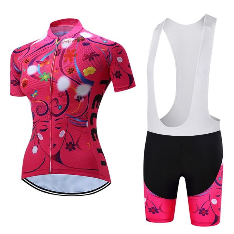 Pink Women MTB Cycling Jerseys bib shorts set Riding Team Summer sportswear Short Sleeves mtb Bicycle Shirts shorts set Padded