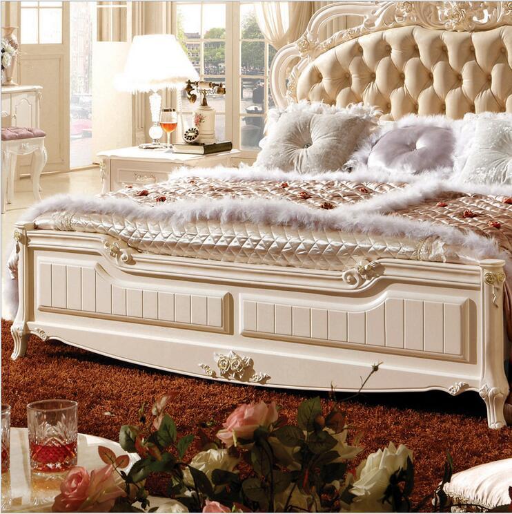 Купить с кэшбэком modern european solid wood bed Fashion Carved  leather  french bedroom furniture p10101