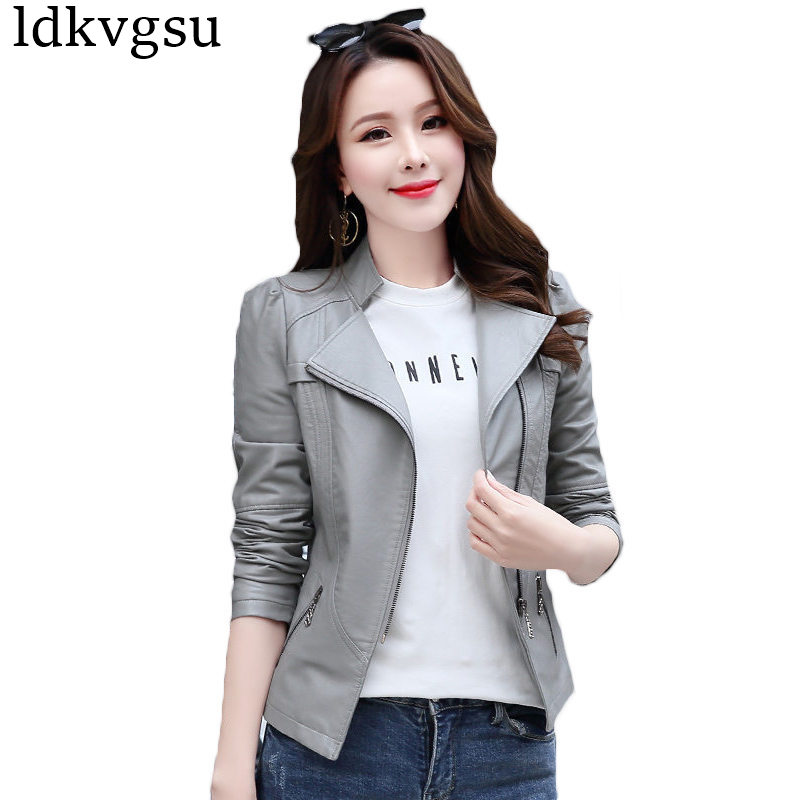 5 6XL 2019 Fashion Spring Autumn Faux   Leather   Jackets Women Plus Size Pu Blazer Zippers Coat Motorcycle Outerwear Girls Top A752