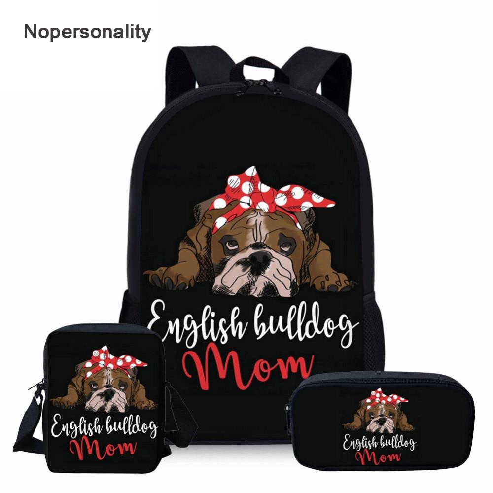 Nopersonality English Bulldog Print School Bag Sets For Teenager Girls Black Student Kids Schoolbags Primary Children Bookbag