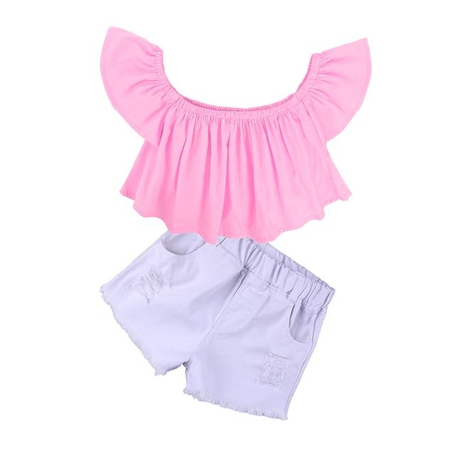 Enfants filles ensemble 2018 Bébé Fille Encolure rose T Shirt Tops + Short blanc 1-6 Ans 1