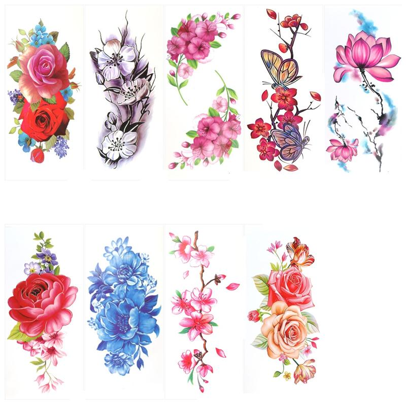 9 Sheets Temporary Tattoo Rose Peony Flower Butterfly