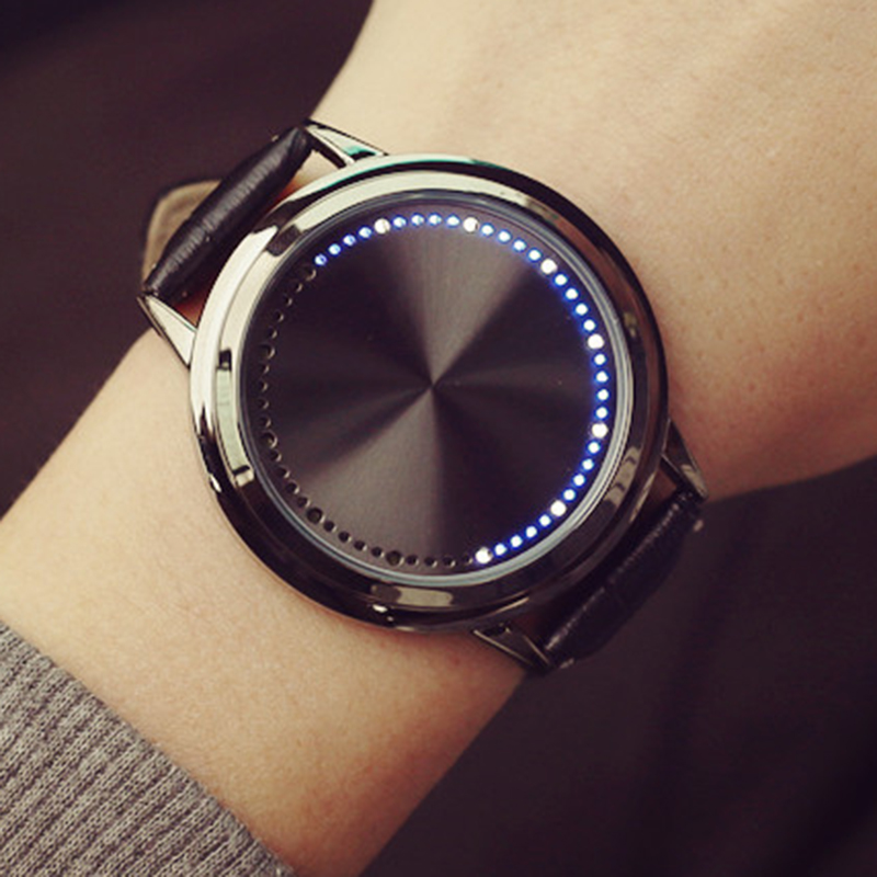 New Fashion LED Watch Creative Personality Touch Screen Watch Leather Band Couple Watch Men Women Electronics Casual Watches